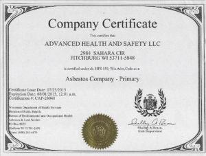 Asbestos Company Certification