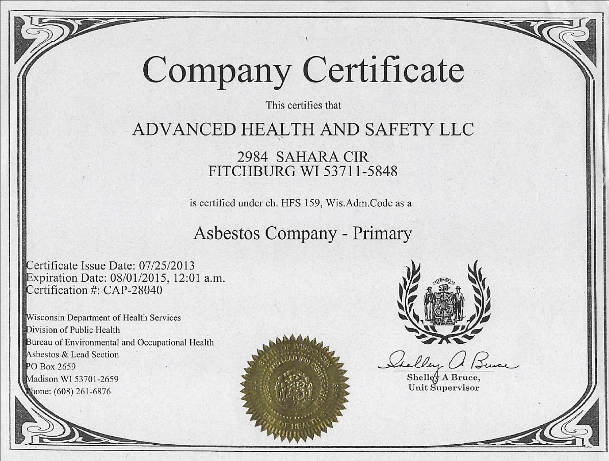 asbestos certification company certifications licenses safety