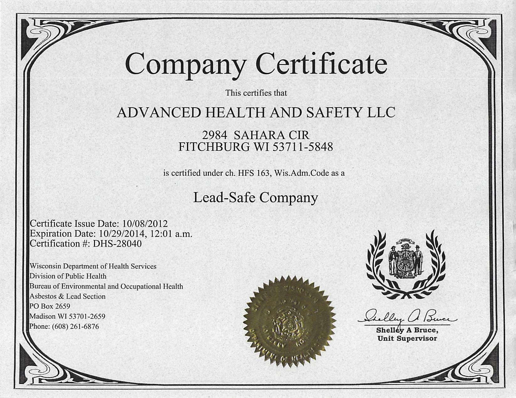 Licenses certifications advanced health and safety lead safe company nari membership insurance certificate asbestos company certification xflitez Images