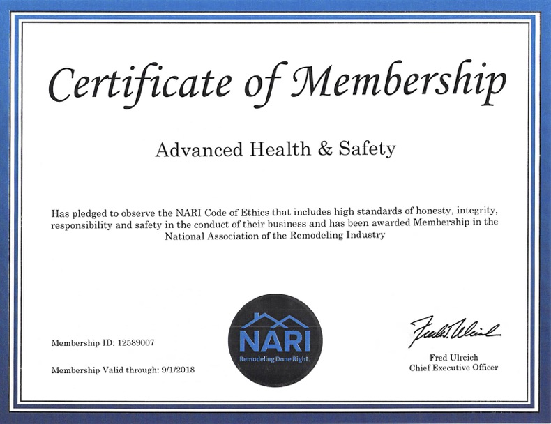 Licenses & Certifications - Advanced Health & Safety Madison, WI