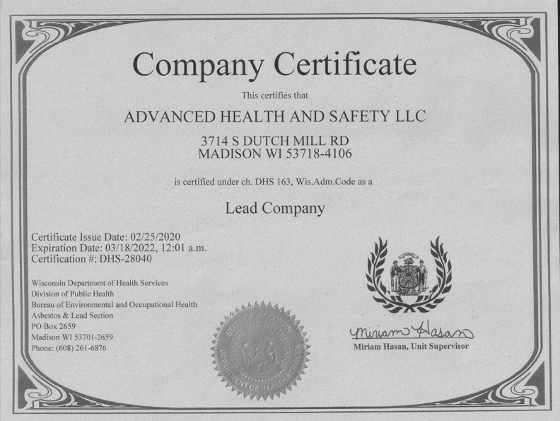 company certificate - mold removal services